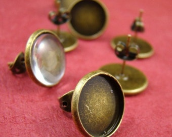 10pcs Antique Solid Brass Earring Posts With Round 12mm Pad EA319