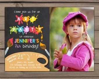 Art Birthday Invitation Art painting party Little artist Birthday Invitation Chalkboard Birthday Invite With photo Digital PRINTABLE DIY