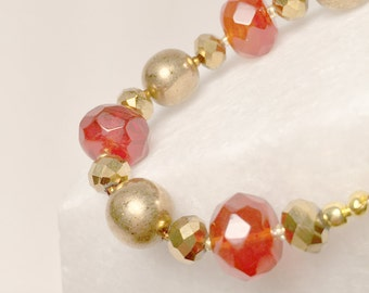 Gold and Orange Quartz Bracelet