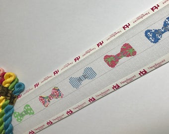 Bowties Needlepoint Belt Canvas- customize your colors, includes thread