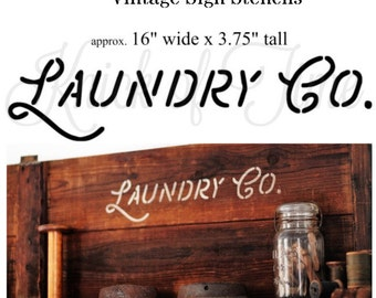 Laundry Room Farmhouse Stencil - LAUNDRY CO. stencil for DIY Home Decor, Signs, Tote Bags and more