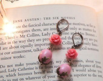 Rose  Spring Earrings , Pink Shabby Chic Earrings,  Romantic earrings, Rose earrings,  Pink earrings,  Vintage Style by VintageRoseGallery .