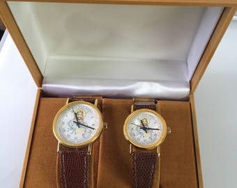 Pair of Jesus and The Twelve Apostles Leather Strapped Wrist Watches in Presentation Case