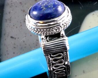 Lapislazuli and silver, ring  --  2318