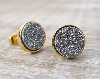 Bridesmaid gift, silver druzy earrings, bridal earrings, druzy studs, 18k gold plated, mixed metal earrings, great gatsby, uk earring