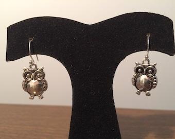 Adorable Owl Dangle Earrings-Sterling Silver Ear Wires-Owl Jewelry