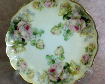 Prussia Royal Rudolstadt Scalloped Gold Rimmed Roses Plate - 4705