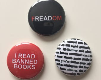 Banned books 1-inch pinback buttons (Set of 3)