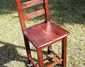 Reclaimed Antique Oak Bar Height Dining Chairs
