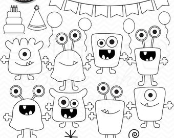monsters stamps birthday clip art digital aliens clipart - Boy Birthday Monsters Digital Stamps