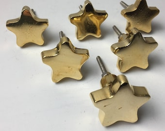 12 x GOLD CHUNKY STAR Knob - Home decor drawer pull Metal