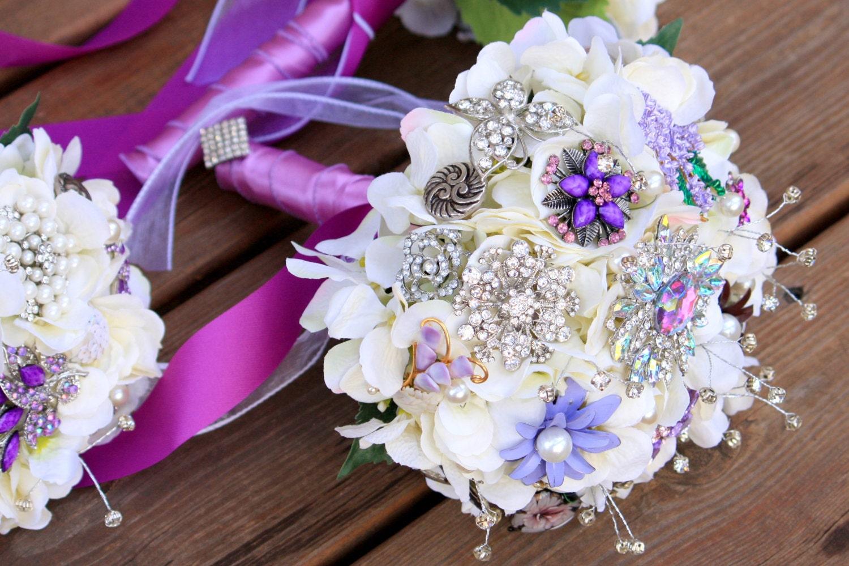 Brooch Bouquet Vintage Wedding Jewelry Bouquet Purple Silver
