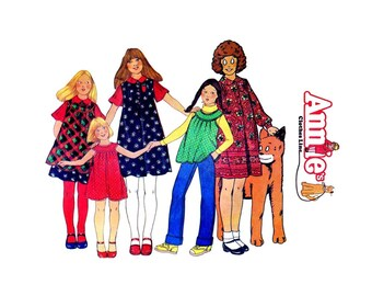1970s Girls Dress Jumper Sundress Top Annies Clothesline McCalls 5836 Vintage Sewing Pattern Size 8 Breast 27