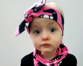 Pink Dino print knot headband