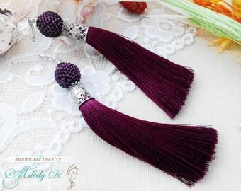 Long bead tassel earrings sister gift Royal purple tassel jewelry for women Birthday mom gift Dainty violet earrings Ultra purple jewelry