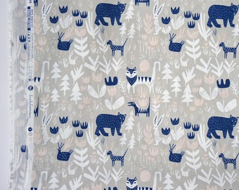 LORE fabric by Leah Duncan - Little Bears - Lions Tigers and Bears. Cloud 9 Fabrics. Organic cotton poplin. Half Metre/19.5""