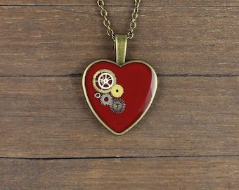 Steampunk red pendant, Steampunk red necklace, red Heart pendant, red Heart necklace, Watch Parts pendant, Watch parts necklace