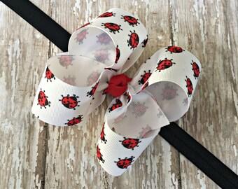 Ladybug Headband Ladybug Baby Headband Ladybug Big Bow Headband Toddler Headband Large Bow Headband Baby Headband