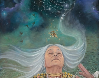 """Grandmother Spider - The Weaver - Reproduction Giclee on canvas - 24""""x36"""""""