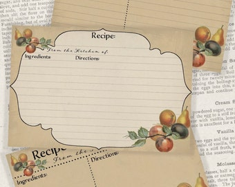 4x6 Printable Recipe Cards, Fruits and Veggies Gifts for Cooks, Kitchen Printables - Instant Download Digital Cooking Printable Project Kit