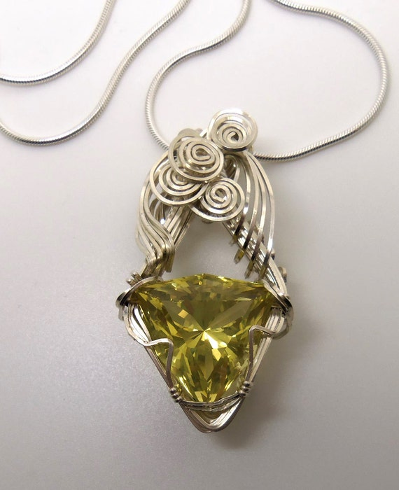 29 Carat Lemon Citrine Gemstone Pendant w/Chain Sterling Silver Hand Cut Gem
