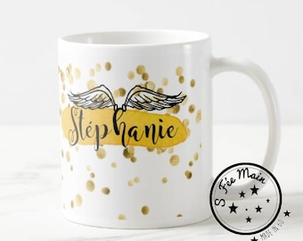 Mug white name, Angel wings and confetti, gold plated, customizable, personalized name mug