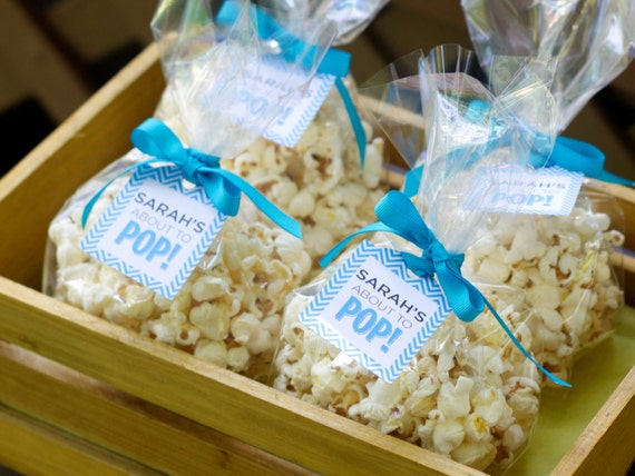 Baby Shower Favors Using Popcorn ~ Baby shower popcorn favor tags baby shower favor tag baby shower