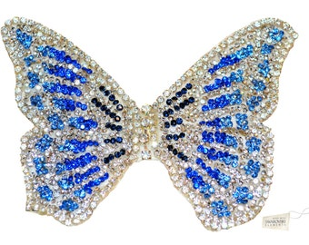 Swarovski crystal Bridesmaid Flower Girl Butterfly Blue Silver White Classic Vintage Lace Bridal Hair Clip Piece Slide