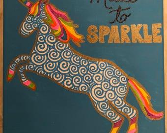 unicorn painting- rainbow- tween room decor- teen decor-  hand painted- gift for her- teen decor- tween decor- girl's decor- birthday