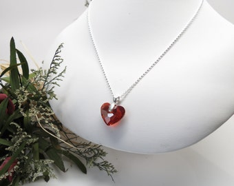 Red heart necklace swarovski red crystal heart necklace swarovski heart pendant necklace crystal heart in sterling silver 15 22 inches length truly in love heart pendant swarovski red magma mozeypictures Gallery