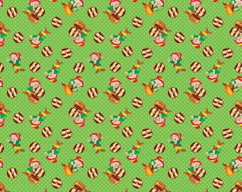 Springs Creative Keebler Elf With Fudge Striped Cookies Cotton Fabric By The Yard IN STOCK