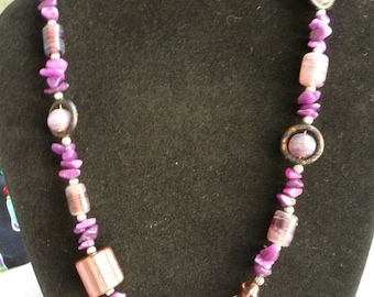 Shades of Assorted Purple Beaded Necklace
