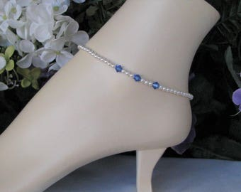 Something Blue Bridal Anklet-Sapphire and Pearl Bridal Anklet-Wedding Anklet-Blue and White Pearl Bridal Anklet-Something Blue Bridal Gift