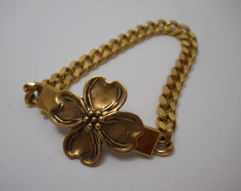 Dogwood Flower Bracelet Golden Brass Unique Repurposed One of a Kind Bracelet Curb Chain ID Style Southern North Carolina State Flower