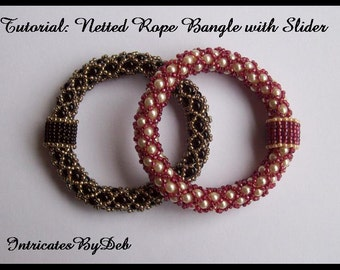 Tutorial Bead Netting Rope Slider Bangle Bracelet - Jewelry Beading Pattern, Beadweaving Instructions, PDF, Do It Yourself, How To