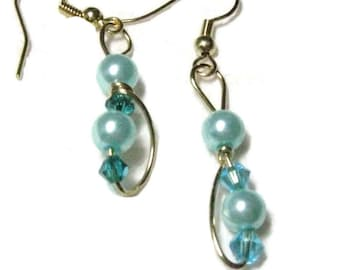 Blue Pearl dangle earrings, Pearl and Crystal Dangle Earrings,Pearl Wire Wrapped Earrings