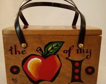 "Original Vintage Enid Collins ""U R the Apple of my I"" Box Purse"