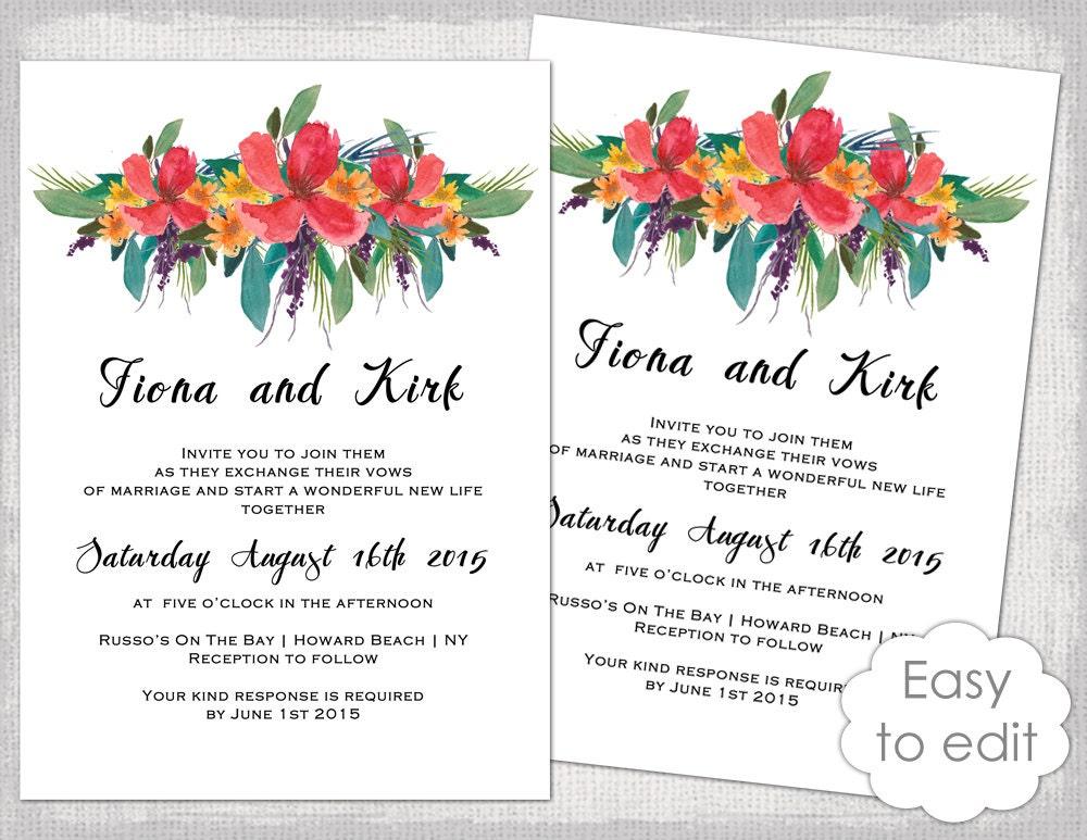 Wedding invitation template printable tropical zoom stopboris Gallery