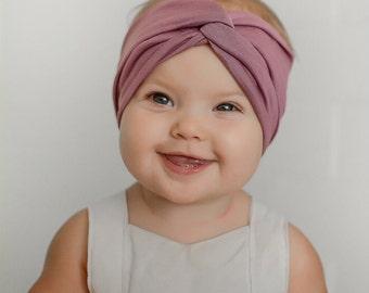 Kids Headband, Kids Turban headband, mauve, fall, baby headband, baby turban,kids accessory, fall headband,Kids Turban in Mauve Love
