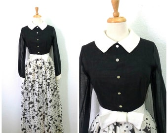 Vintage 1950s Dress Black and White Floral Print 50s Bow Button front Maxi dress S