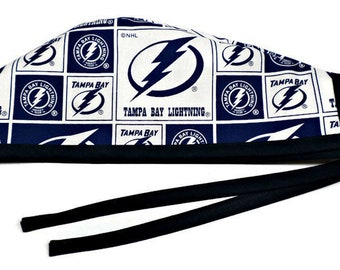 Men's Unlined Surgical Scrub Hat Cap made of Tampa Bay lightning fabric