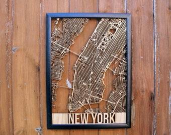 New York Laser Cut Street Maps Wooden Map