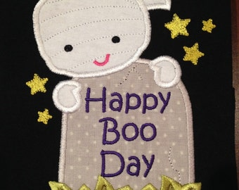 Happy boo day applique t shirt