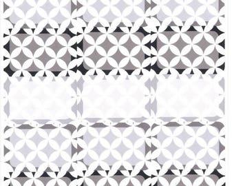 Interlocking Circles Half Boxes- Neutral    Planner Stickers