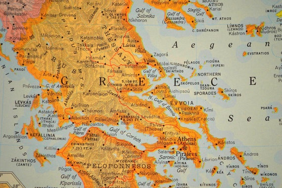 Greece map greece greek isles map islands colorful like this item gumiabroncs Choice Image