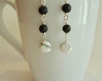 Howlite and Lava Bead Dangle Earrings, Diffuser Earrings, Black Lava Rock Diffuser Earrings