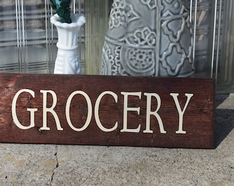 Grocery rustic, vintage old time wall decor sign