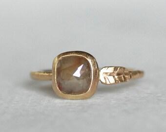 Rose Cut Diamond Leaf Ring - Diamond Gold Engagement Ring - Size 6 1/4