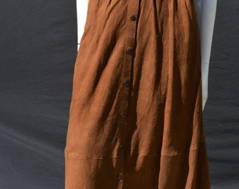 Vintage 70's hippie suede skirt ELENA'S butter soft leather/suede MINT front snaps  size M western skirt