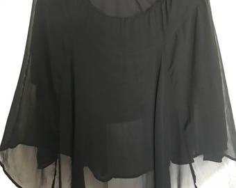 black mini skirt w/sheer midi overlay